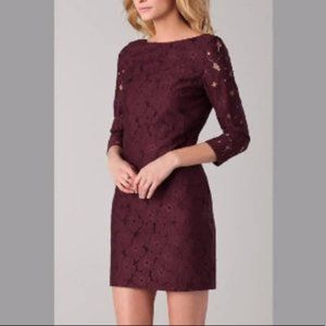DVF Wine Flower Lace 3/4 Sleeve Dress